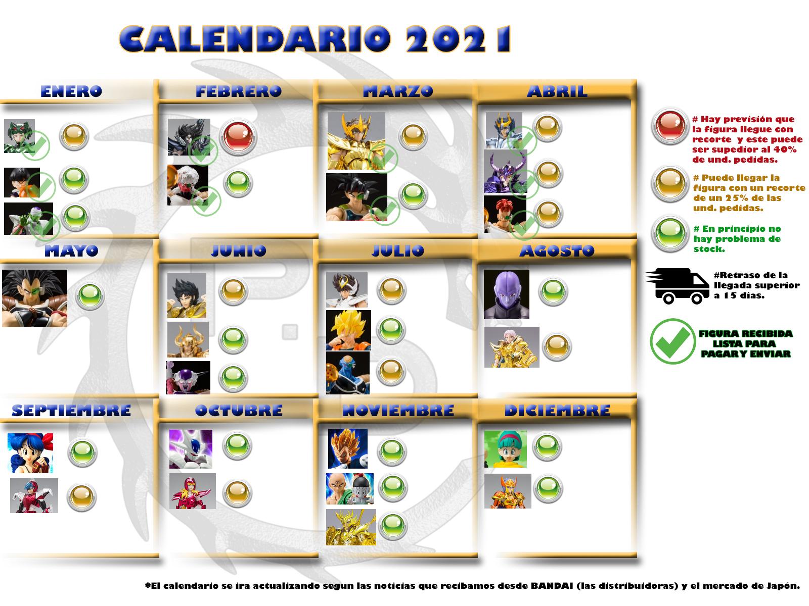 calendario dragon ball y saint seiya